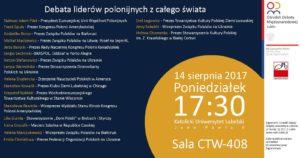 Debata liderów polonijnych z całego świata! 14 sierpnia 2017