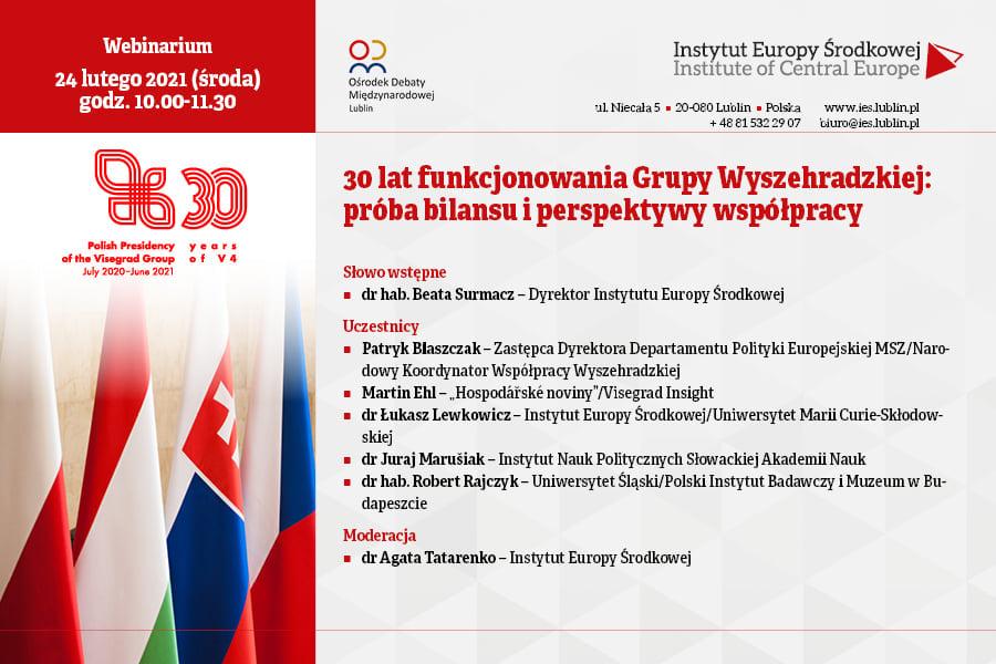 """Webinarium """"30 lat funkcjonowania Grupy Wyszehradzkiej: próba bilansu i perspektywy współpracy"""""""
