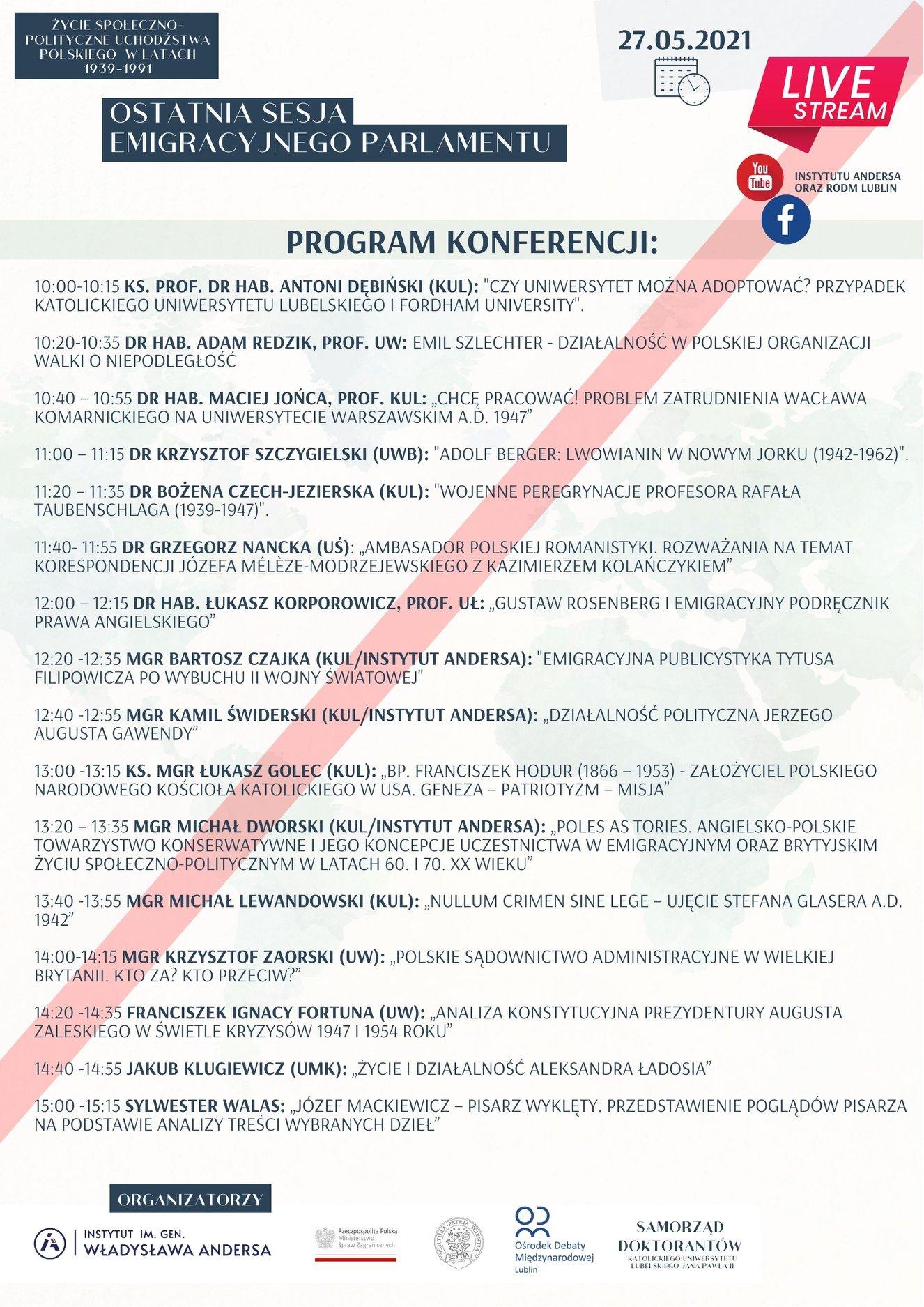 """Konferencja naukowa: """"Życie społeczno-polityczne uchodźstwa polskiego w latach 1939-1991"""""""