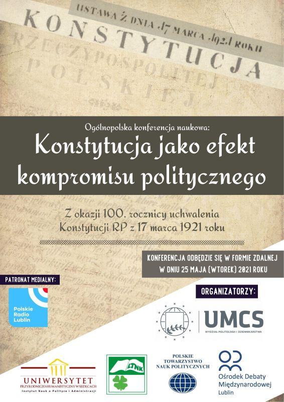 """Ogólnopolska Konferencja Naukowa """"Konstytucja jako efekt kompromisu politycznego""""."""